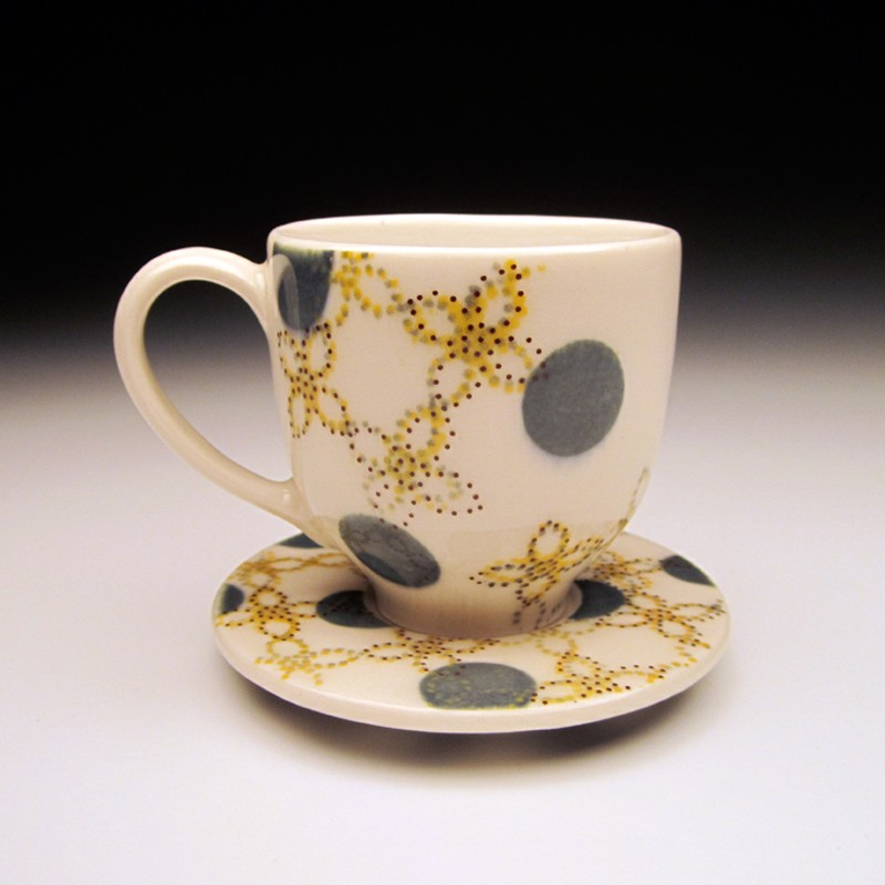 Meredith Host - Dot Dot Pinwheel Espresso Cup and Saucer