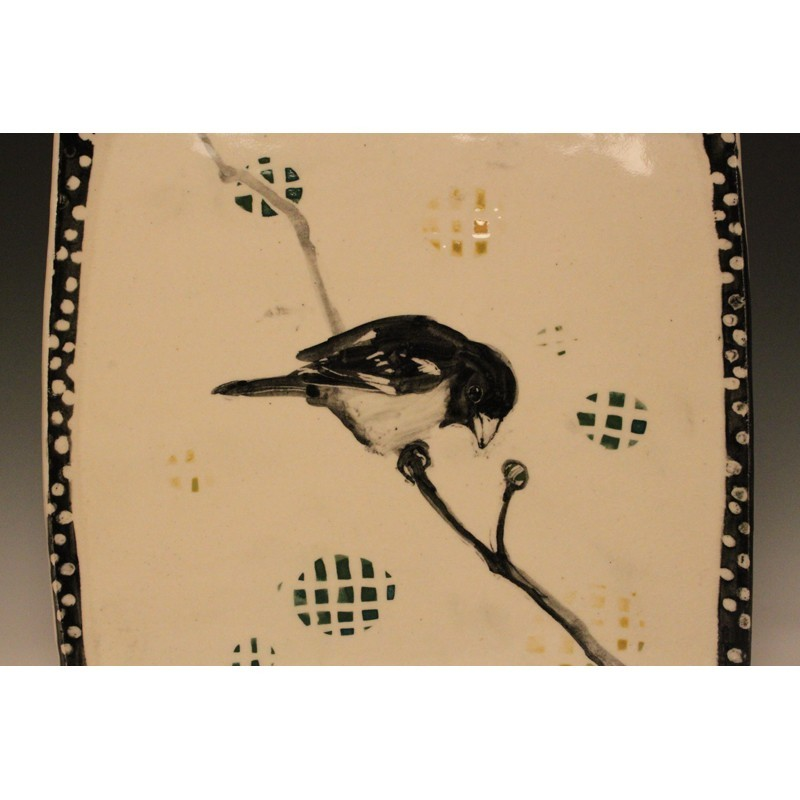 Hannah Niswonger - Large Bird Plate, La Sagra's Flycatcher