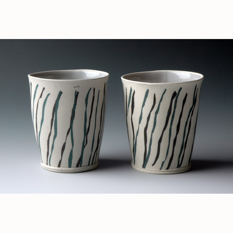 Hayne Bayless - Cups  with Stencil Stripes